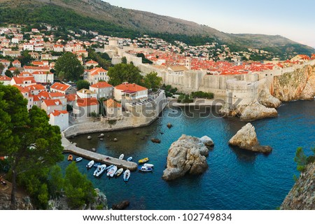 Sunset at Dubrovnik, Croatia - architecture background