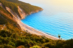 Sunset at famous Myrtos beach - Kefalonia - Greece