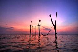 Sunset at Gili Trawangan Island,Lombok, Indonesia..