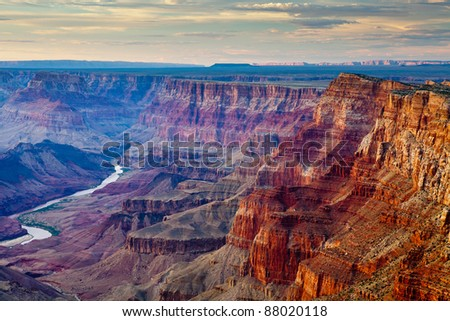 sunset at grand canyon desert point with river in the background
