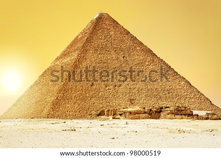 Sunset at Great Pyramid of Giza, Egypt