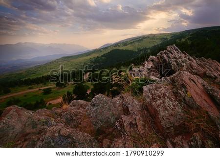 Sunset at Guils, la Cerdanya, Catalonia Foto stock ©
