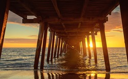 Sunset at Henley Beach - view from under the pier