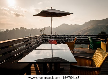 Sunset at hilltop terrace