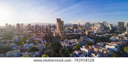 Sunset at Horacio Avenue near Polanco. Panoramuc aerial view near the Palacio de Hierro, you can see in the background the famous mall Antara, Mexico city   #783958528