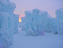 Sunset at Ice Castle