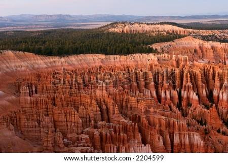 Sunset at Inspiration Point Bryce Canyon Utah - stock photo