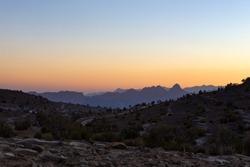 Sunset at jebel shams mountain oman