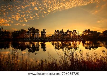 Sunset at Kaiafas lake, Zacharo municipality, Ilia prefecture, Peloponnese, Greece. Date taken: 30.10.2014. #706085725