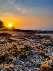 Sunset at Labu Beach, one of the secluded beaches in Deli Serdang Regency, North Sumatera, Indonesia.