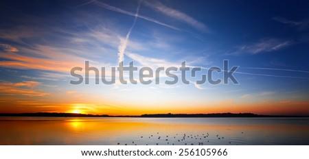 sunset at lake chiemsee