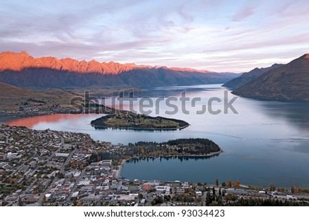 Sunset at Lake Wakaitipu Queenstown at dusk, New Zealand