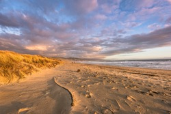 Sunset at Limantour Beach in Point Reyes, CA with pink clouds and sand dunes.