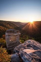 Sunset at Lindy Point in Blackwater Falls State Park, West Virginia featuring the Blackriver Canyon below.