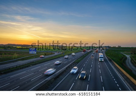 Sunset at M1 motorway near Flitwick junction in United Kingdom