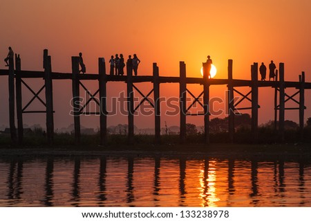 sunset at Mandalay bridge, Myanmar