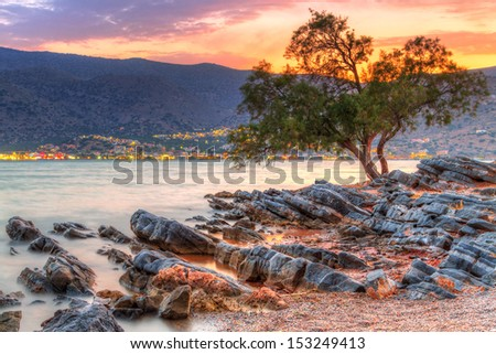 Sunset at Mirabello Bay on Crete, Greece