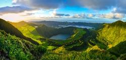 Sunset at Miradouro da Boca do Inferno, Hiking Panorama, Vulcanic Lake in the Background, Sao Miguel Island, Azores, Portugal
