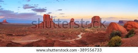 Sunset at Monument Valley Navajo Tribal Park in Arizona and Utah, United States of America