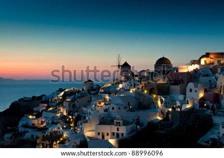 Sunset at Oia of Santorini, Greece