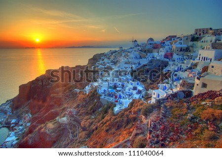 Sunset at Oia, Santorini, Cyclades, Greece