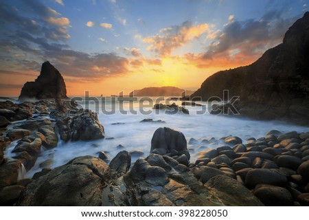 Sunset At Payangan Beach Location Jember East Java #398228050