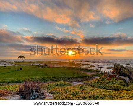 Sunset at Pebble Beach Golf course in Monterey, California. #1208665348