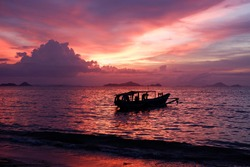 Sunset at Pede Beach, Labuan Bajo. Labuan Bajo is one of the must-visit tourist destinations in Indonesia, this small city at the western end of Flores has endless beauty.