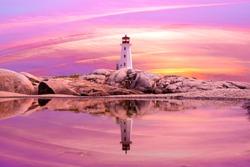 Sunset at Peggy's Cove in Eastern Canada, Nova Scotia