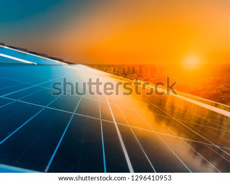 Sunset at photovoltaic solar panel #1296410953