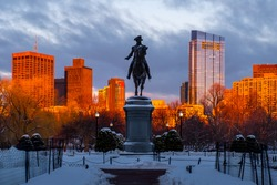 Sunset at Public Garden Boston , cover by snow