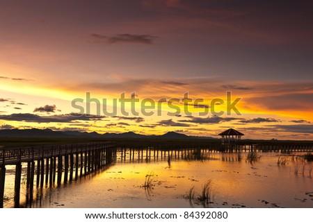 sunset at Sam roi Yod national park,Prachuap Khiri Khan province Thailand