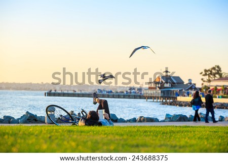 Sunset at San Diego Waterfront Public Park, Marina and the San Diego Skyline. California, United States. #243688375