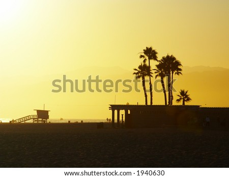 Sunset at Santa Monica Beach, California