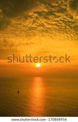 Sunset at sea, Beautiful seascape. Natural composition
