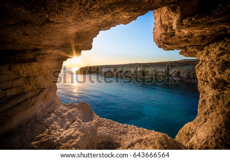 Sunset at sea caves near Ayia Napa, Cyprus, Europe Stock fotó ©