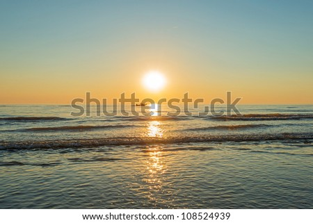Sunset at sea in summer