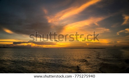 Sunset at sea in Thailand