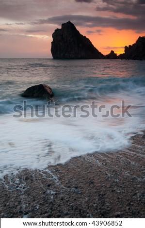 Sunset at sea over the mountain Diva, Crimea. Ukraine