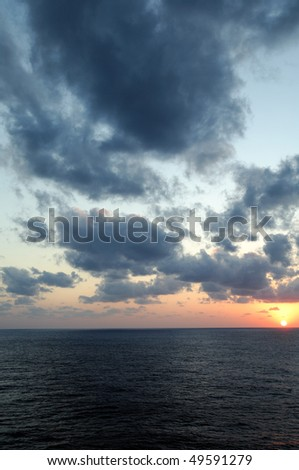 Sunset at sea - sunset over the Gulf of Mexico from the water