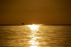 sunset at sea. variety of colors and hues of the rising sun. Sea landscape.