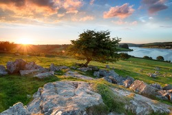 Sunset at Siblyback lake on Bodmin Moor in Cornwall