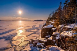Sunset at Silver Harbour conservation area near Thunder Bay Ontario, on Lake Superior