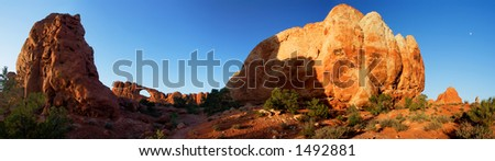 Sunset at Skyline Arch, one of more than 2,000 arches cataloged within Arches National Park.