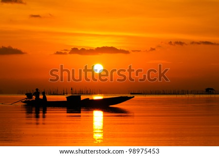 Sunset at Southern Lake Thailand. 15-03-2012