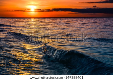 Sunset at sunken meadow beach, Long Island New York. Summer travel concept