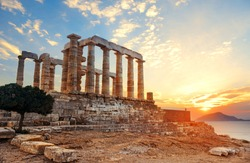 Sunset at Temple of Poseidon near Athens, Greece.
