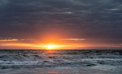 Sunset at the beach of Norderney