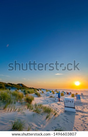 Sunset at the beach on Juist, East Frisian Islands, Germany. #1496603807