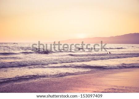 sunset at the beach. retro...
